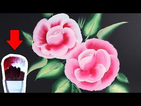 Como dibujar una Flor con Pinceladas Bicolor