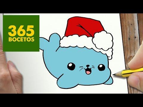 Como dibujar una Foca de Navidad Kawaii
