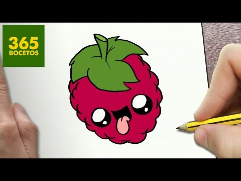 Como dibujar una Frambuesa kawaii