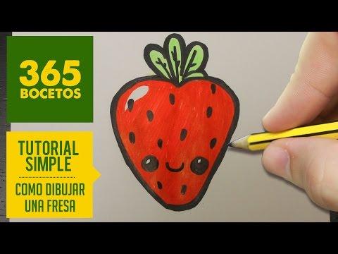 Como dibujar una Fresa kawaii paso a paso