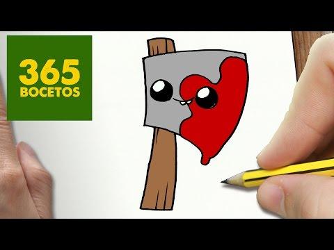 Como dibujar una hacha con sangre terrorífica