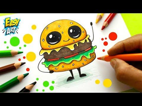 Como dibujar una Hamburguesa estilo CUTE