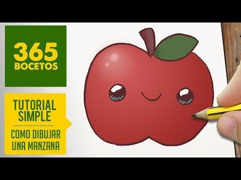 Como dibujar una manzana con cara fácil