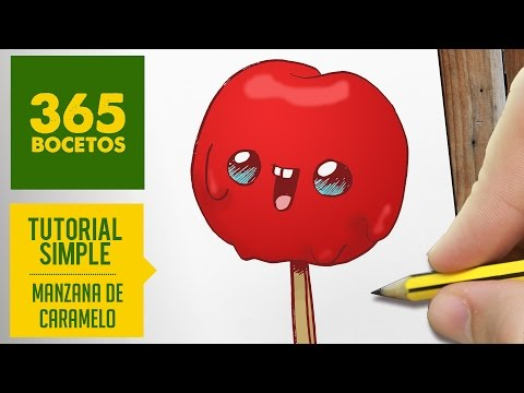 Como dibujar una manzana de caramelo kawaii