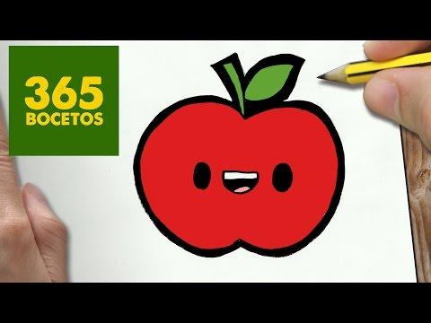 Como dibujar una Manzana kawaii