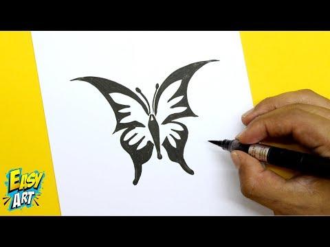 Como dibujar una mariposa fácil paso a paso