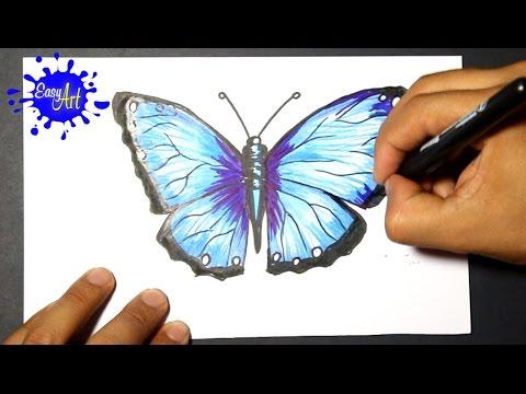 Como dibujar una Mariposa muy fácil