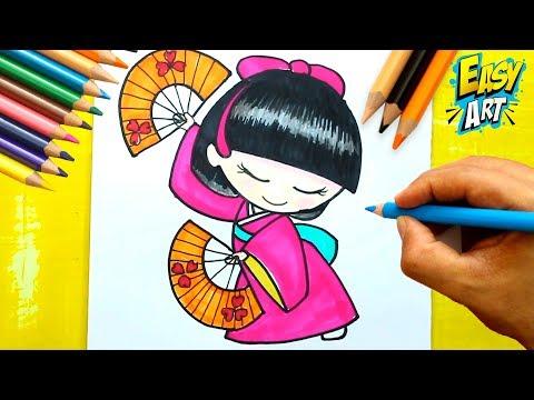 Como dibujar una Muñeca Japonesa