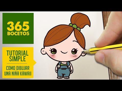 Como dibujar una niña kawaii