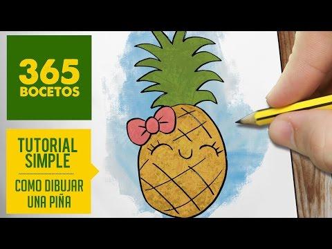 Como dibujar una piña kawaii