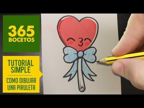 Como dibujar una Piruleta kawaii fácil