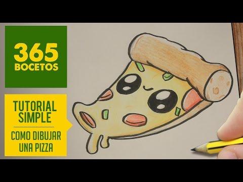 Como dibujar una pizza kawaii