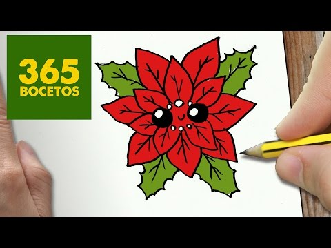 Como dibujar una poinsettia de Navidad con carita
