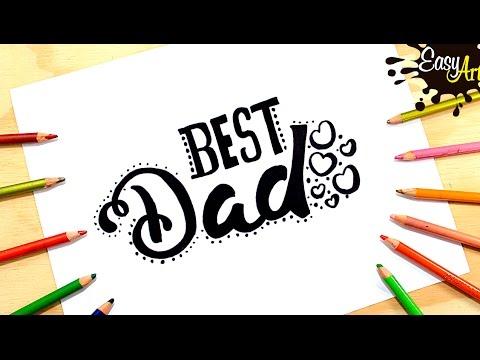 Como dibujar una postal para El Día del Padre paso a paso