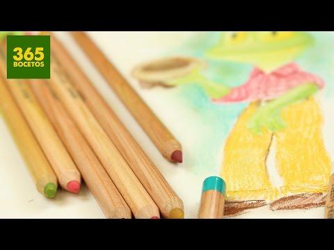 Como dibujar una Rana con sombrero con lápices