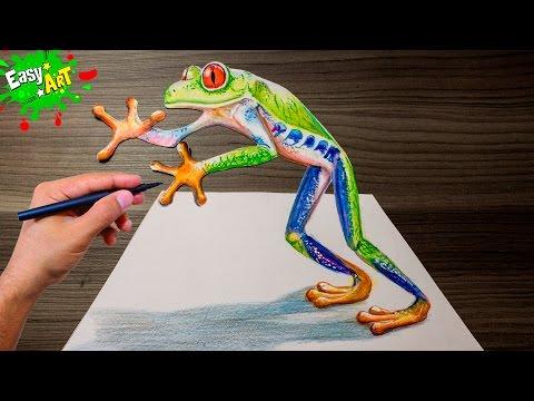 Como dibujar una Rana en 3D fácil