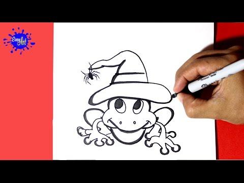 Como dibujar una Rana para Halloween