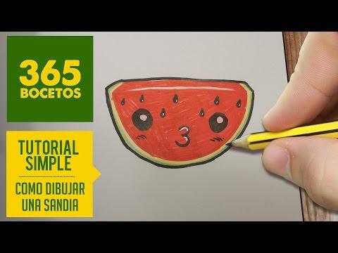 Como dibujar una sandía besitos