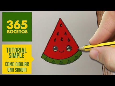 Como dibujar una sandia kawaii