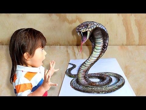 Como dibujar una serpiente con efecto 3D