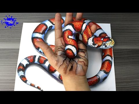 Como dibujar una serpiente en 3D paso a paso