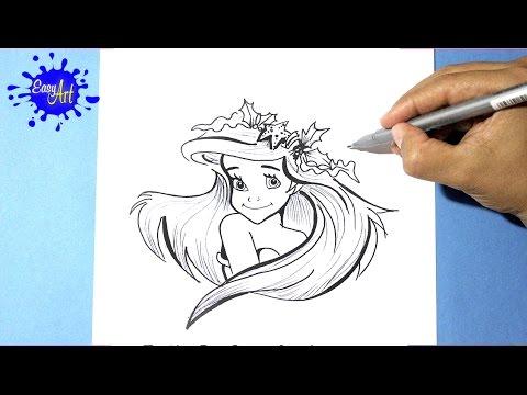 Como dibujar una Sirenita paso a paso