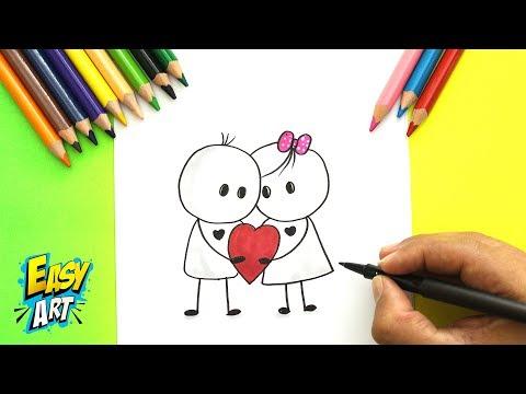 Como dibujar una tarjeta de San Valentín romántica