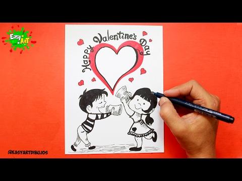 Como dibujar una tarjeta para San Valentín fácil