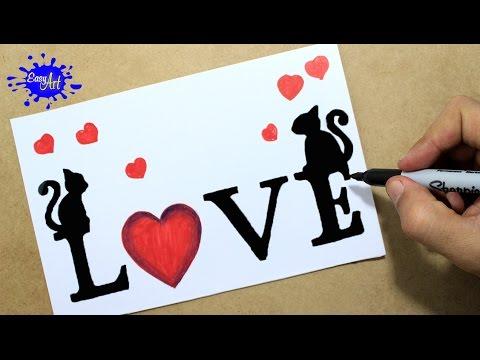 Como dibujar una tarjeta para San Valentín paso a paso