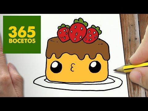 Como dibujar una tarta de fresas amorosa