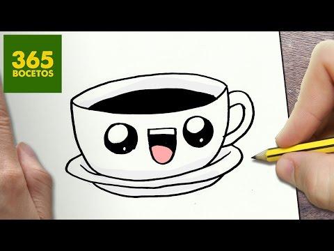 Como dibujar una Taza de Café estilo kawaii