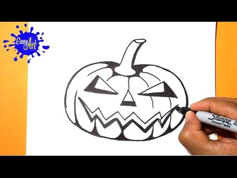 Como dibujar una tenebrosa Calabaza de Halloween