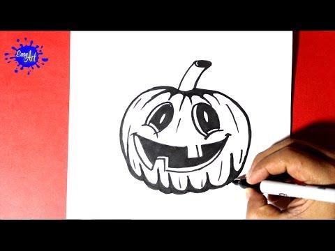 Como dibujar una terrorífica Calabaza de Halloween