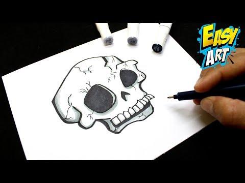 Como dibujar una terrorífica Calavera de Halloween