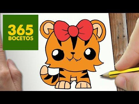 Como dibujar una Tigresa kawaii