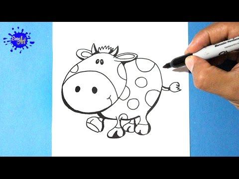 Como dibujar una vaca fácil