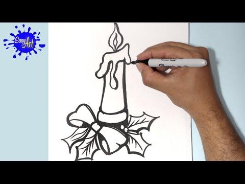 Como dibujar una Vela para Navidad fácil