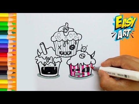 Como dibujar unas terroríficas Cupcakes de Halloween