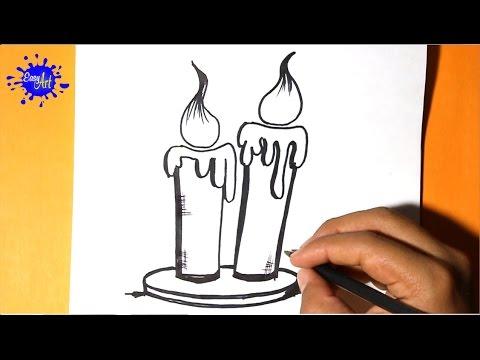 Como dibujar unas velas para Halloween