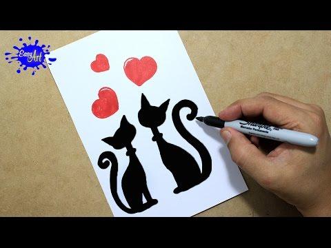 Como dibujar unos gatitos enamorados para San Valentín