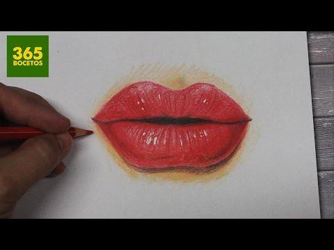 Como dibujar unos Labios rojos realistas