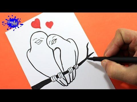 Como dibujar unos pajaritos enamorados