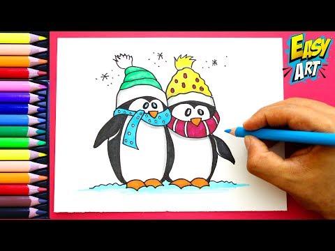 Como dibujar unos Pingüinos para Navidad
