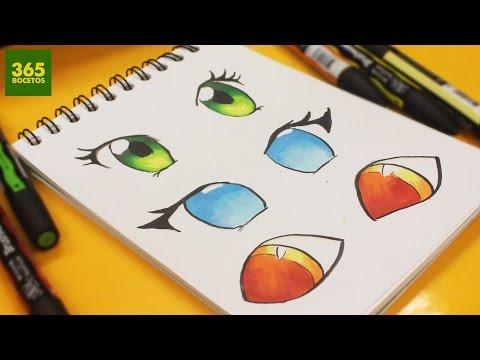Como dibujar y colorear ojos Anime