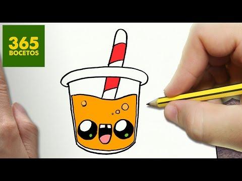 Como dibujar zumo de naranja kawaii