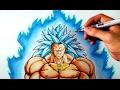 Como dibujara a Broly SSJ3 Dios azul